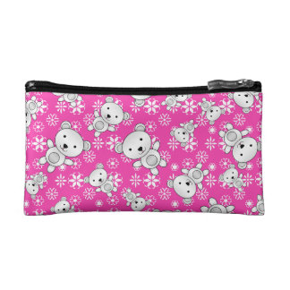 Cute polar bears christmas pink snowflakes makeup bags