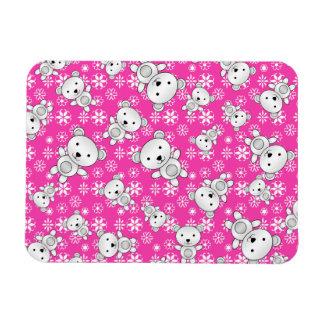 Cute polar bears christmas pink snowflakes rectangular photo magnet