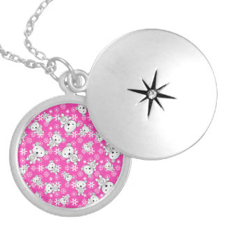 Cute polar bears christmas pink snowflakes round locket necklace