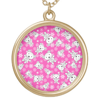 Cute polar bears christmas pink snowflakes round pendant necklace