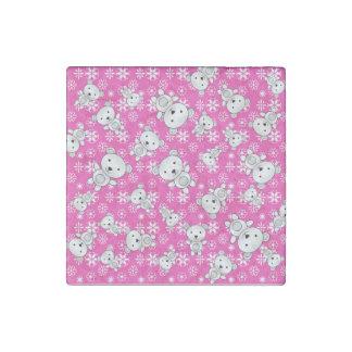 Cute polar bears christmas pink snowflakes stone magnet