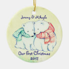 "Cute Polar Bears in Scarves ""Our First Christmas"" Ceramic Ornament"