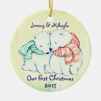 """Cute Polar Bears in Scarves """"Our First Christmas"""" Ceramic Ornament"""