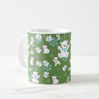 Cute Polar Bears Let It Snow Pattern Print Coffee Mug