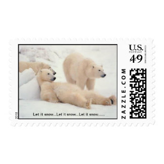 Cute Polar Bears relaxing in the snow and ice Postage