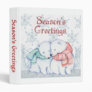Cute Polar Bears With Scarves 3 Ring Binder