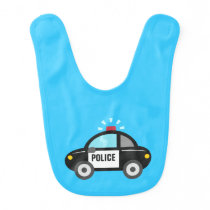Cute Police Car with Siren Baby Bib