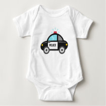 Cute Police Car with Siren Baby Bodysuit
