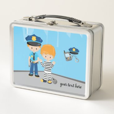 Halloween Themed Cute Police Officer Metal Lunch Box