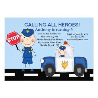 Cute Policeman Heroes Birthday Invitation