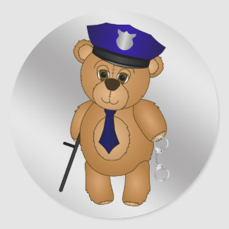Cute Policeman Kids Teddy Bear Cartoon Mascot Classic Round Sticker