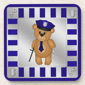 Cute Policeman Kids Teddy Bear Cartoon Mascot Coaster