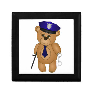 Cute Policeman Kids Teddy Bear Cartoon Mascot Keepsake Box