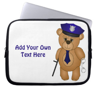 Cute Policeman Kids Teddy Bear Cartoon Mascot Laptop Sleeve