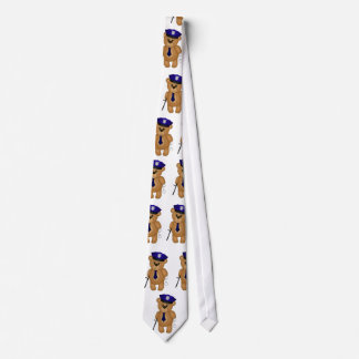 Cute Policeman Kids Teddy Bear Cartoon Mascot Neck Tie