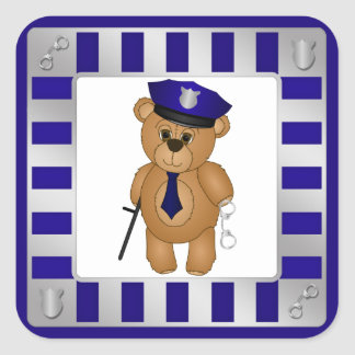 Cute Policeman Kids Teddy Bear Cartoon Mascot Square Sticker