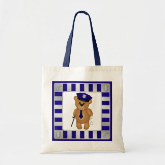 Cute Policeman Kids Teddy Bear Cartoon Mascot Tote Bag