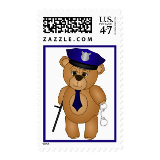 Cute Policeman Kids Teddy Bear Mascot Postage