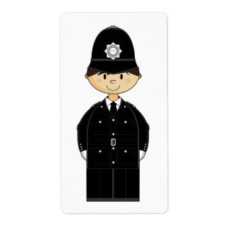 Cute Policeman Sticker Label