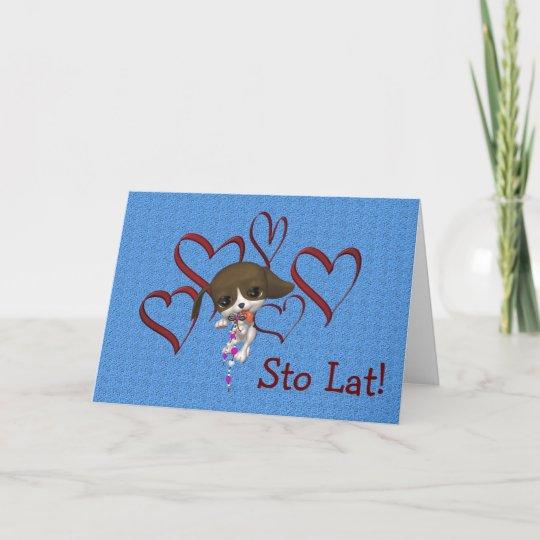 Cute Polish Birthday Card Puppy Hearts Zazzle
