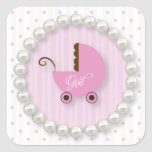 Cute Polka Dot and pearls Girl Baby shower Sticker
