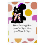 Cute Polka Dot Black Kitty Cat Greeting Card
