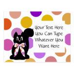 Cute Polka Dot Black Kitty Cat Postcard