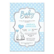 Cute Polka Dot Blue Grey Elephant Baby Shower BOY Invitation