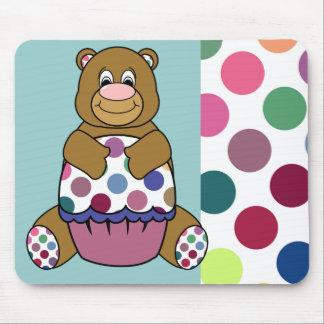 Cute Polka Dot Brown Birthday Bear Mousepad