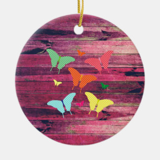 Cute Polka-dot butterflies on wood grunge effects Ceramic Ornament