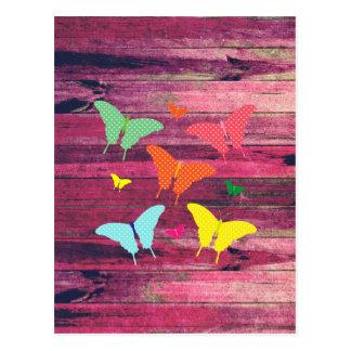 Cute Polka-dot butterflies on wood grunge effects Postcard