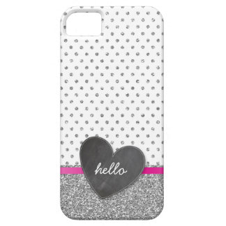 CUTE polka dot chalkboard heart glitter silver iPhone SE/5/5s Case