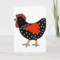 Cute Polka Dot Chicken Holiday Card