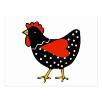 Cute Polka Dot Chicken Postcard
