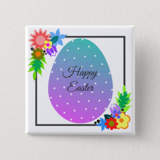 Cute polka dot Easter egg with floral wreath Button
