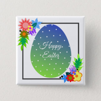 Cute polka dot Easter egg with floral wreath Pinback Button
