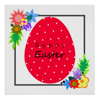 Cute polka dot Easter egg with floral wreath. Poster