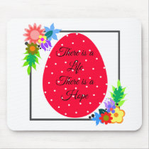 Cute polka dot egg with floral wreath mouse pad
