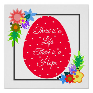 Cute polka dot egg with floral wreath poster