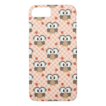 USA Themed Cute Polka Dot Fall Owl iPhone 7 Case