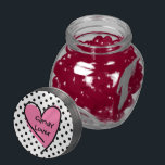 """Cute Polka Dot &amp; Heart Candy Lovers Candy Jar<br><div class=""""desc"""">Fun glass candy jar, with a tin lid decorated with black polka dots, against a white background. Graphics of a black outlined pink doodle heart has black custom text reading Candy Lover. Personalize the text to read what you want. Makes a great gift idea, chose the candy flavor you prefer...</div>"""