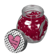 Cute Polka Dot & Heart Candy Lovers Candy Jar Glass Candy Jar at Zazzle
