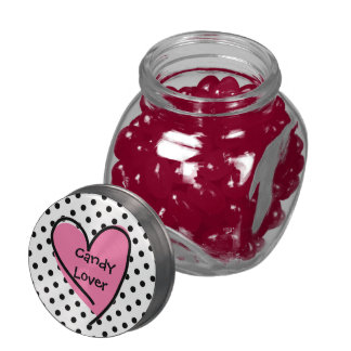 Cute Polka Dot & Heart Candy Lovers Candy Jar Glass Candy Jar