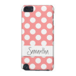 Cute polka-dot iPod case in coral iPod Touch (5th Generation) Cover