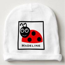Cute Polka Dot Ladybug Baby Girl Custom Name Baby Beanie