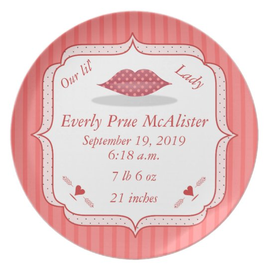 Cute Polka Dot Lips Lil Lady Baby Girl Stats Dinner Plate