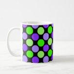 Cute Polka Dot Mug, Lime & Lilac on Black Classic White Coffee Mug