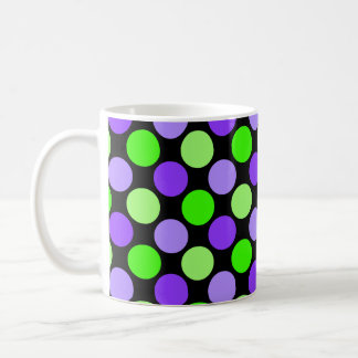 Cute Polka Dot Mug, Lime & Lilac on Black Coffee Mug