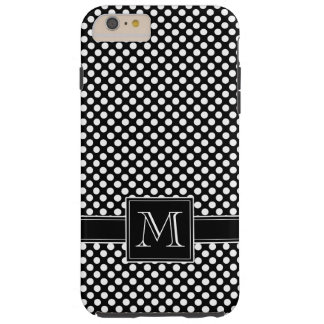 Cute Polka Dot Pattern with Traditional Monogram Tough iPhone 6 Plus Case