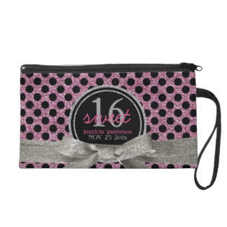 Cute Polka Dot Pink Black Glitter Look Sweet 16 Wristlet Purse